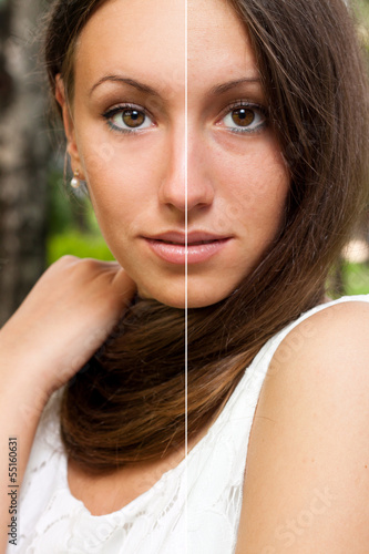 Face of beautiful woman before and after retouch.