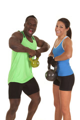 man and woman fitness lifting