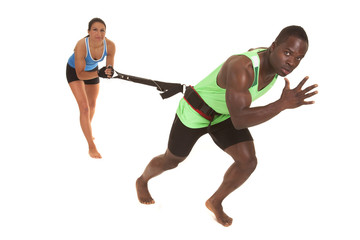 man training run with woman looking