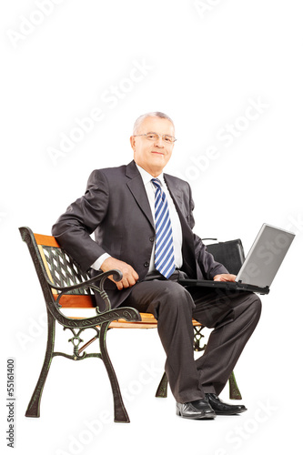 Mature businessman sitting on a wooden bench with laptop