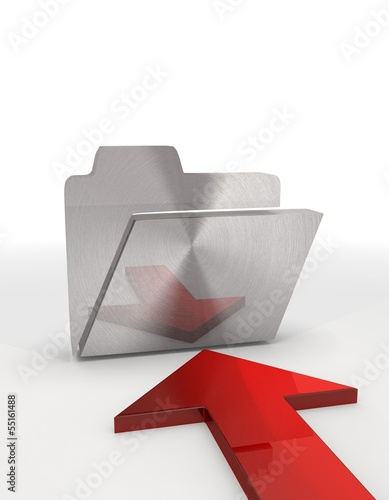 Illustration of a regular folder sign with red arrow