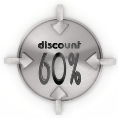 3d render of a cool discount icon on metallic label