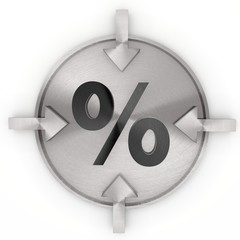 3d graphic of a metallic percent sign on metallic label