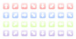 Set of colored 3d icons with arrows