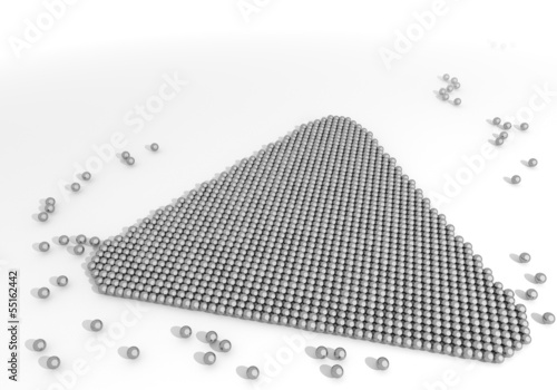 Illustration of a arranged triangle icon made of tiny spheres