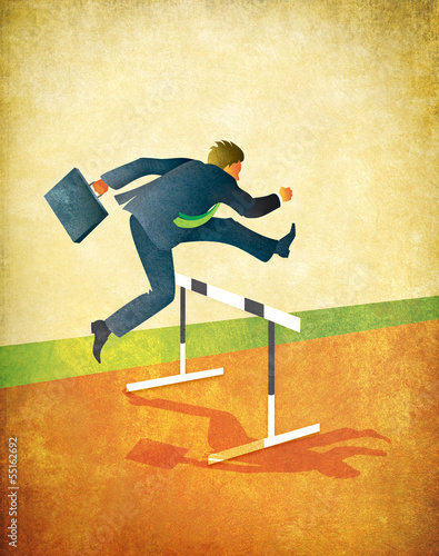 Running Businessman Jumping Track Hurdles
