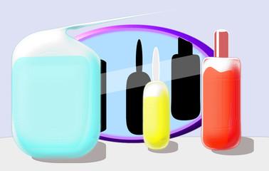 Botes de vidrio con líquidos de colores