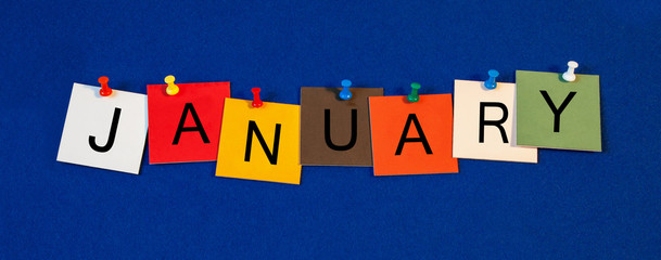January - calendar and month series.
