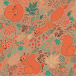 Squirrels in the woods. Seamless pattern with cute squirrels in