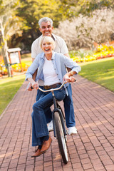 senior couple cycling in a park