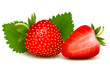 Two strawberries with leaves . Vector.