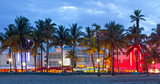 Fototapety Miami Beach, Florida  hotels and restaurants at sunset