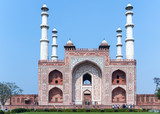 Landscape picture of Akbar's Tomb and its four minarets in India