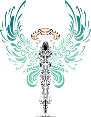 tattoo character of angel and devil arm wrestling