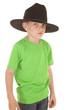 Young boy green shirt cowboy hat serious