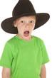 Young boy green shirt cowboy hat open mouth
