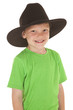 Young boy green shirt cowboy hat smile