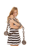 Woman jail with chain look