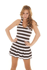 Woman stand in black stripes guilty