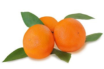Fresh tangerines with green leaves isolated on white background.