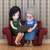 3d render of a woman with her mother using laptop