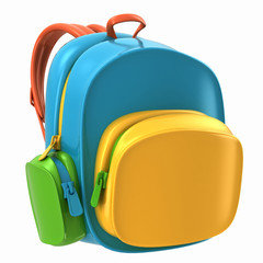 3d render of backpack bag for kids