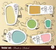 """Vector set: Collection sticker and background """"Back to School"""""""