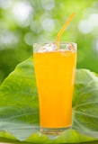Orange juice on the leaves