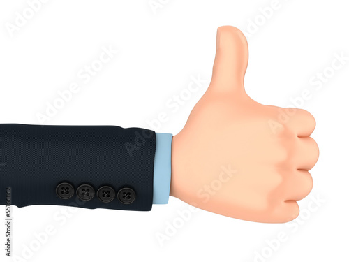 3d render of businessman hand with thumbs up