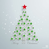 Green Christmas Tree Red Star