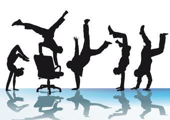 Handstand und Freude im Büro