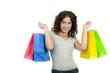 teenager mit vielen einkaufstaschen
