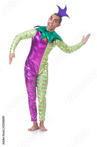Man clown isolated on white