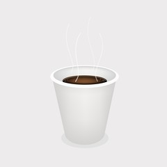 A Hot Coffee in Disposable Cup on Grey Background