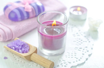 sea salt, soap and candle