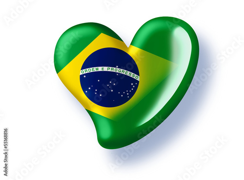 green heart with brazil flag for the soccer championship 2014