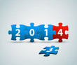 New Year 2014 card made from puzzle pieces