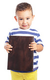 Child holding a close book on a white background