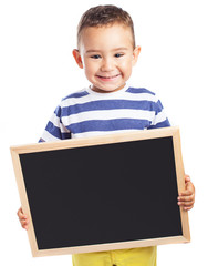 child holding a chalkboard on white background
