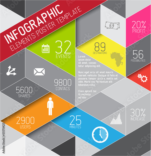 Vector abstract triangles infographic template