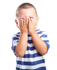 a embarrassed kid on a white background