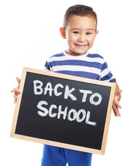 child holding a blackboard back to school on a white background