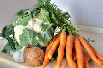 Vegetables - onion, carrot, cauliflower and garlic