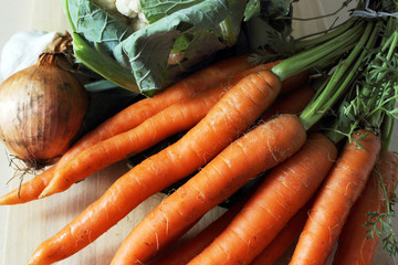 Raw vegetables - onion, carrot, cauliflower and garlic