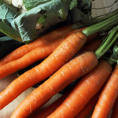 Fresh raw vegetables - carrot and cauliflower, soup ingredients