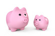 Two Pink Piggy banks style money boxes