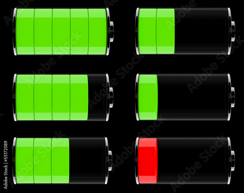 Set of Glass Battery Icons