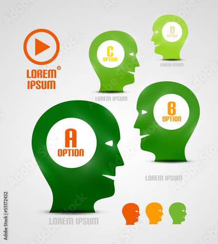 Vector head and ideas presentation template