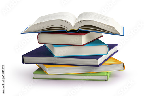 Leinwanddruck Bild stack of books isolated on white background