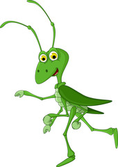 cute grasshopper cartoon walking